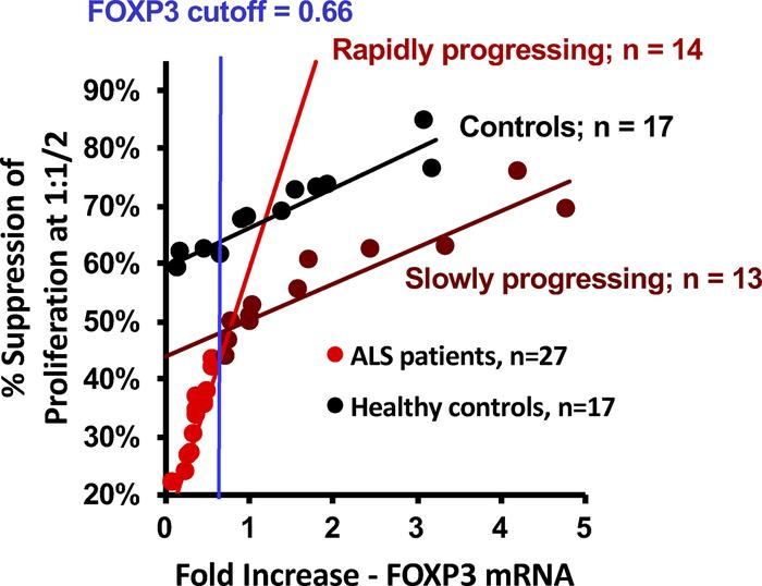 The correlation of Treg suppression versus FOXP3 mRNA expression levels....