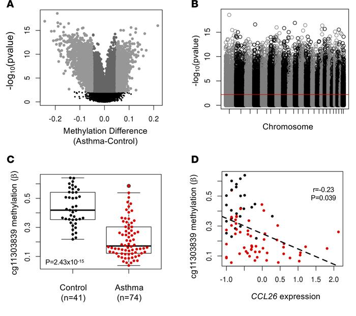 Differential methylation in airway epithelial cells from asthmatic and c...