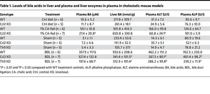 Levels of bile acids in liver and plasma and liver enzymes in plasma in ...