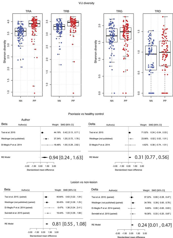 Analysis of TCR V/J diversity in psoriasis. V/J sequences were extracted...