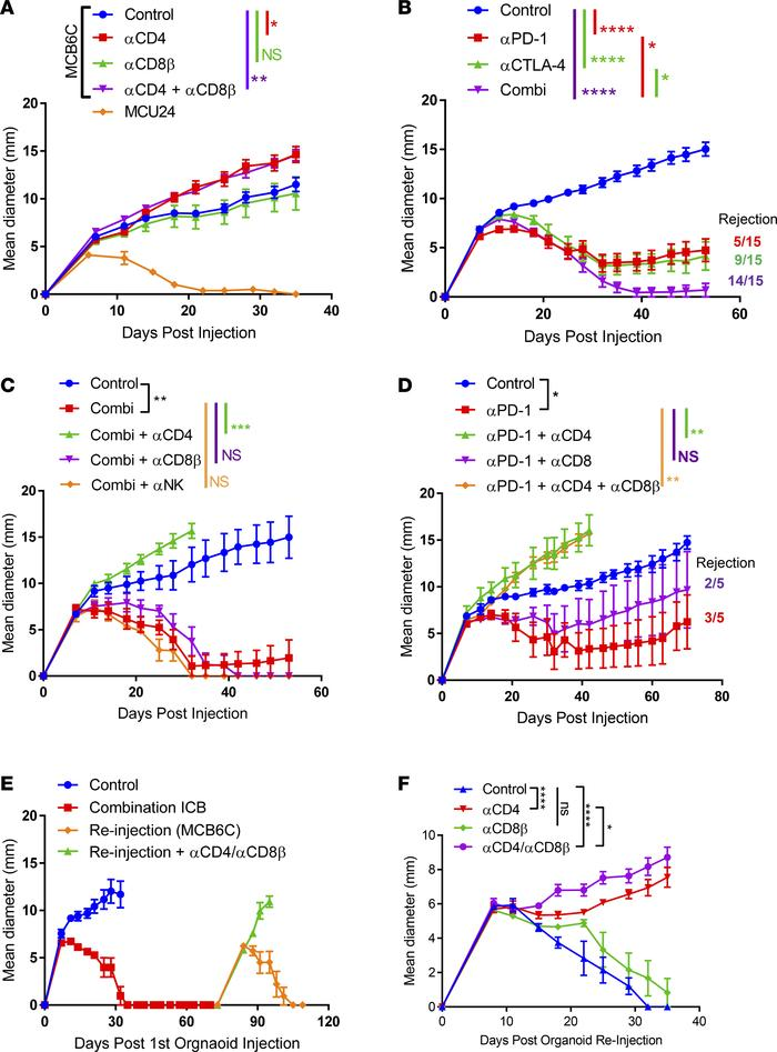 CD4+ T cells restrain growth of MCB6C and mediate ICB-induced tumor immu...