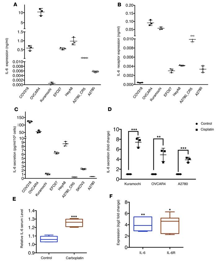 Platinum-induced IL-6 secretion contributes to enrichment of OCSC in res...