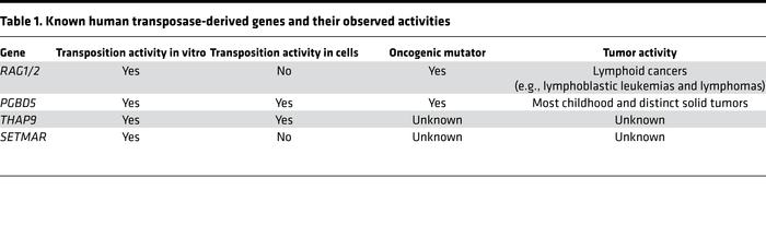 Known human transposase-derived genes and their observed activities