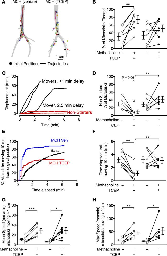 TCEP decreases methacholine-driven initiation of microdisk movement in v...