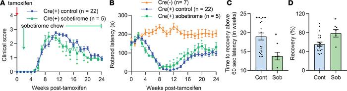 Treatment with sobetirome improves motor performance in iCKO-Myrf mice. ...