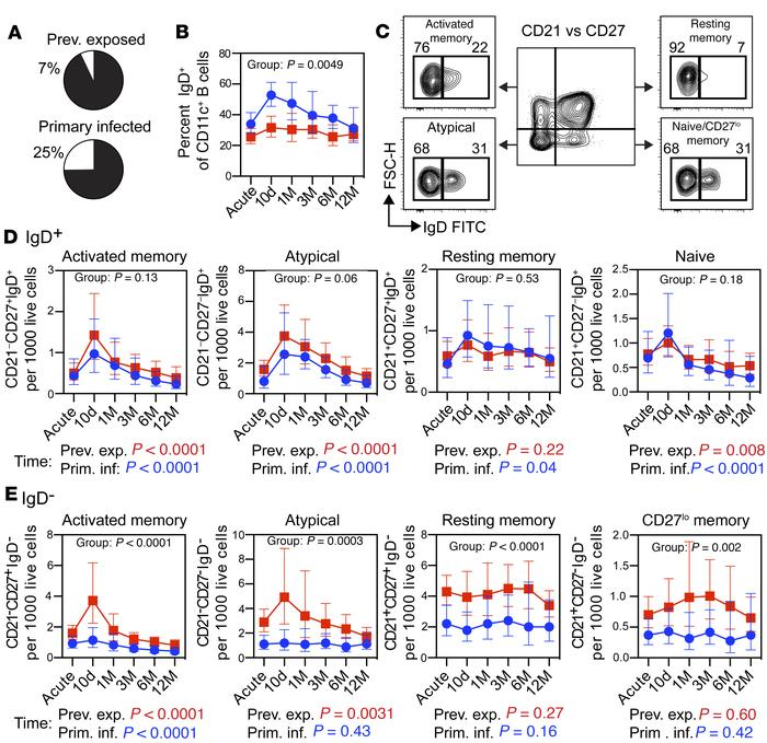 Expansion of switched CD11c+ B cells is associated with previous exposur...