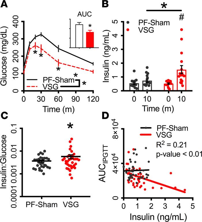 Glucose-stimulated insulin secretion is elevated after VSG.  (A–C) Blood...