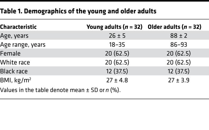 Demographics of the young and older adults