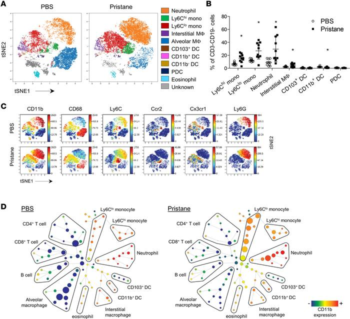 Expansion of monocytes and neutrophils in DAH. (A) Mass cytometry analys...