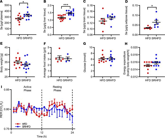 Unaltered energy homeostasis in male mice fed an SRHFD. (A–D) Selenium c...