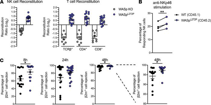 WASpL272P NK and T cells have a reconstitution advantage in vivo, and WA...