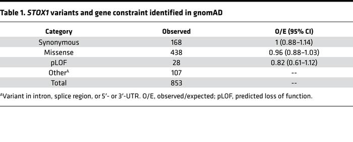 STOX1 variants and gene constraint identified in gnomAD