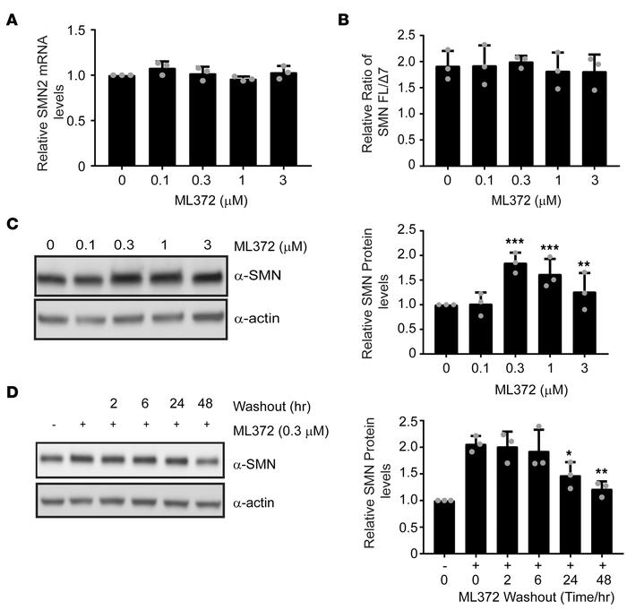 ML372 enhances SMN protein level and function. Spinal muscular atrophy p...