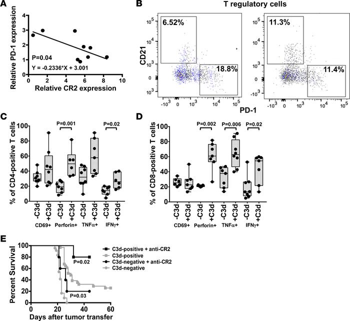 C3d modifies antitumor T cell functions. (A) CR2 and PD-1 expression mea...