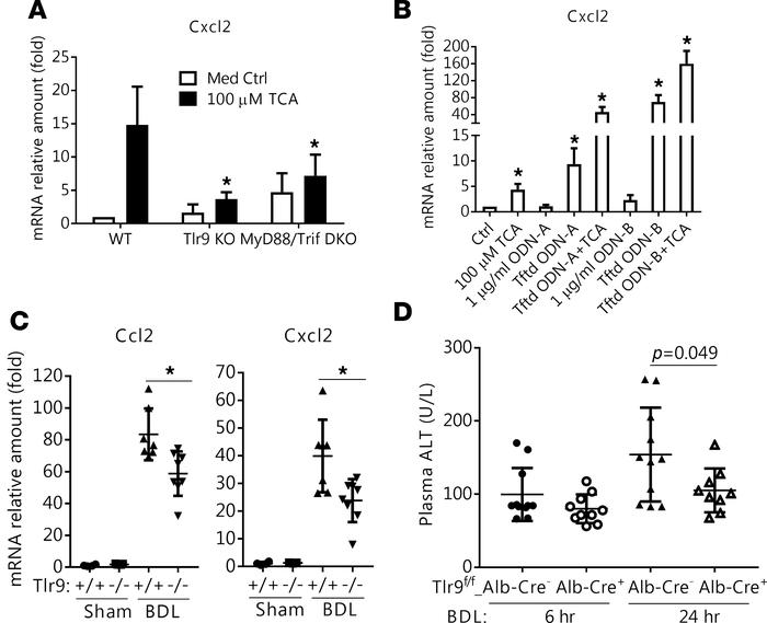 Tlr9 is involved in bile acid induction of Cxcl2 in vitro in mouse hepat...