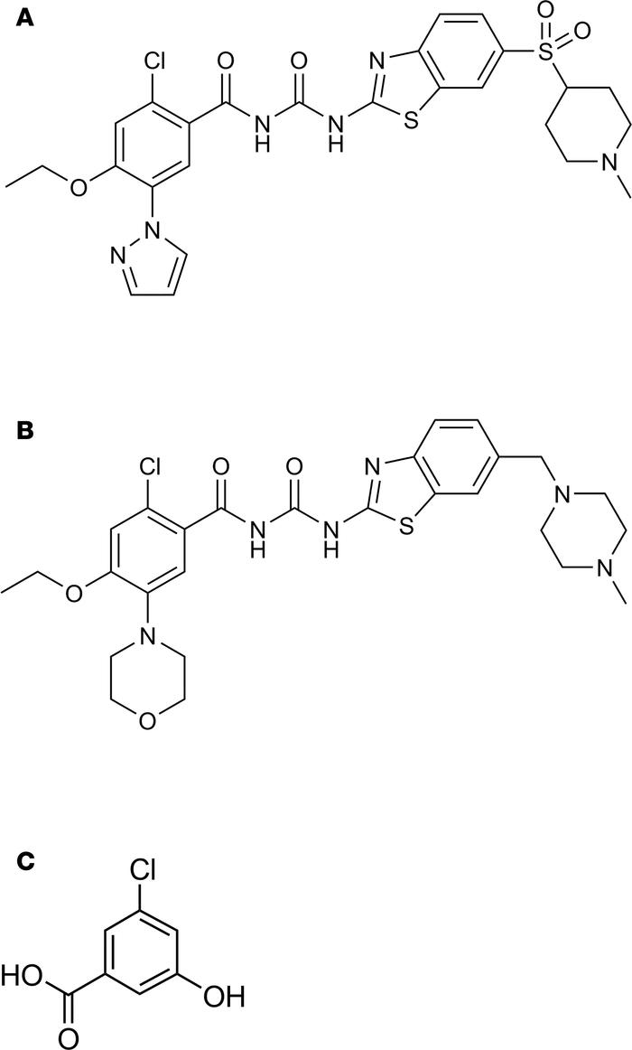 Structures of GPR81 agonists, AZ1 and AZ2, as well as the reference comp...