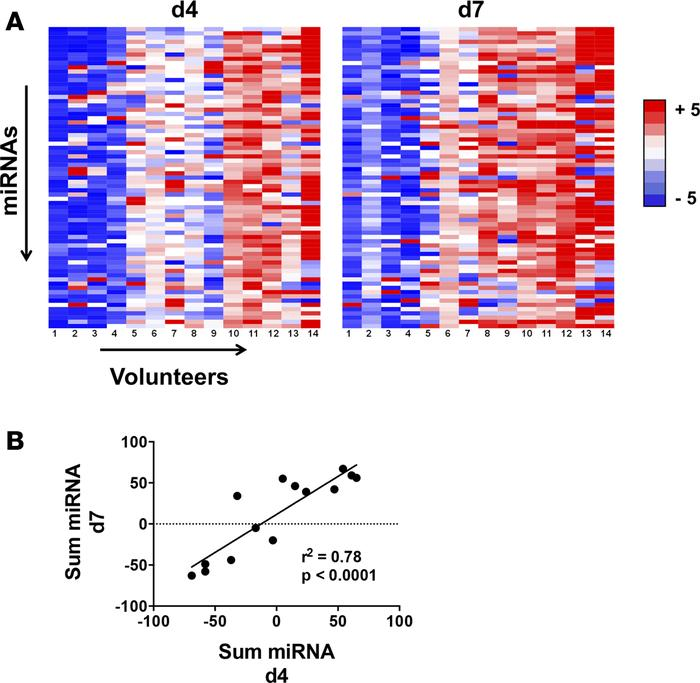Whole-blood miR expression profile in malaria-naive human volunteers exp...