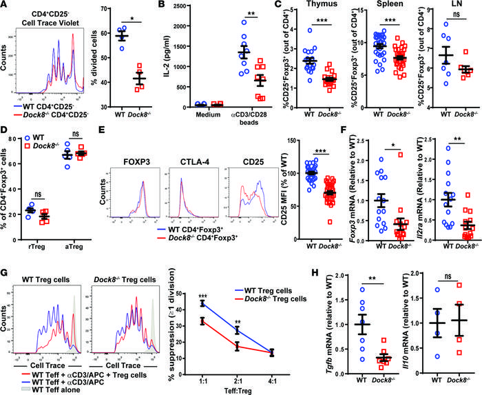 Dock8–/– mice have reduced Treg percentages and in vitro Treg-suppressi...