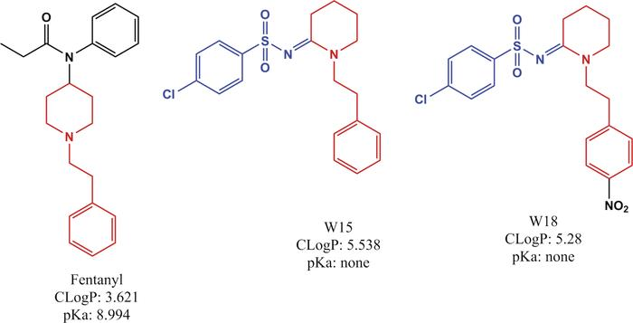 Structure of fentanyl, W-15, and W-18. Shown are the chemical structures...