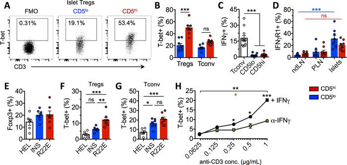 Strength of TCR signal regulates level of T-bet expression in Tregs. (A)...