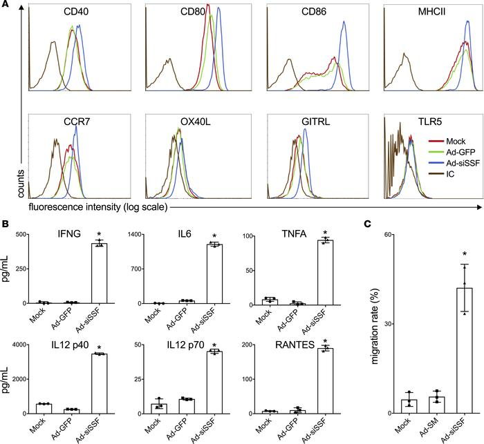 Enhanced maturation of Ad-siSSF–transduced hDCs. (A) Expression levels o...